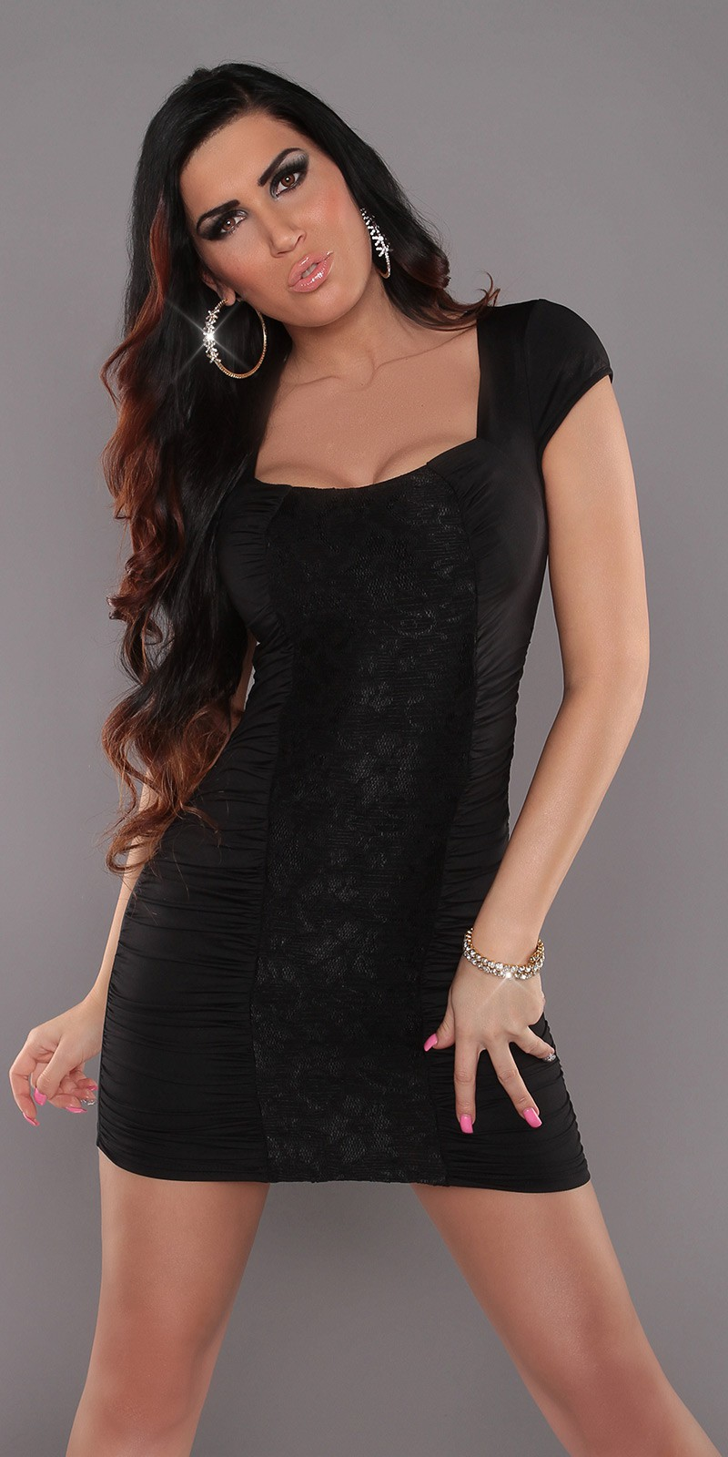 Black Square Neck Dress With Lace Insert
