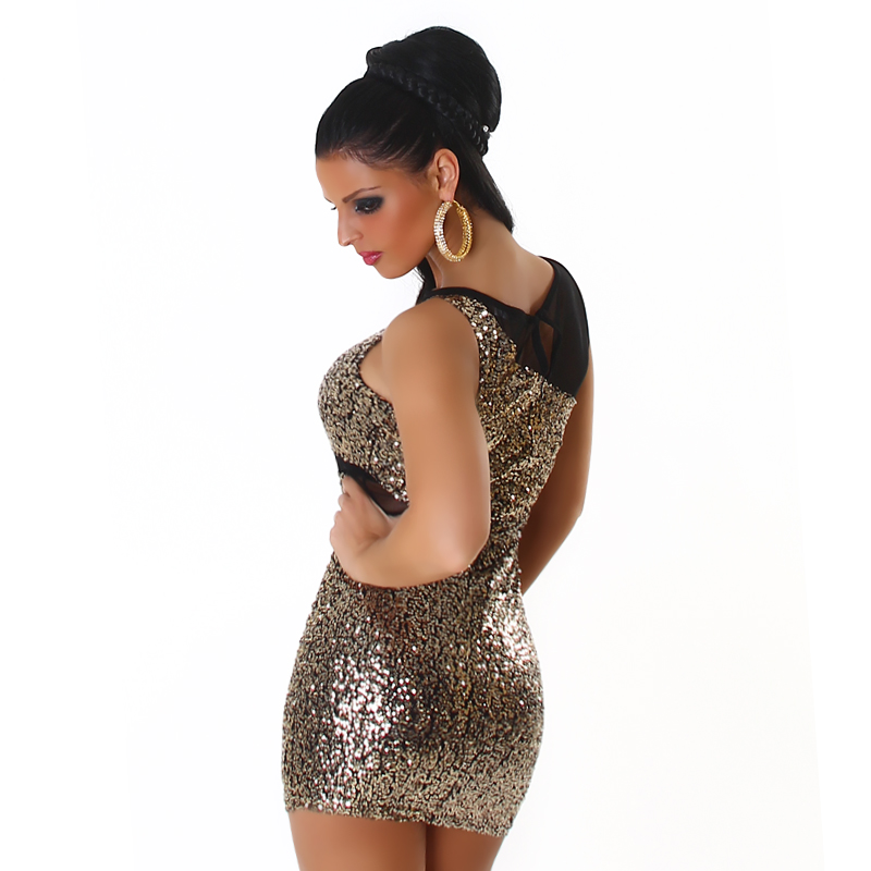 Sexy Silver Sequined Short Club Dress With Mesh Insets