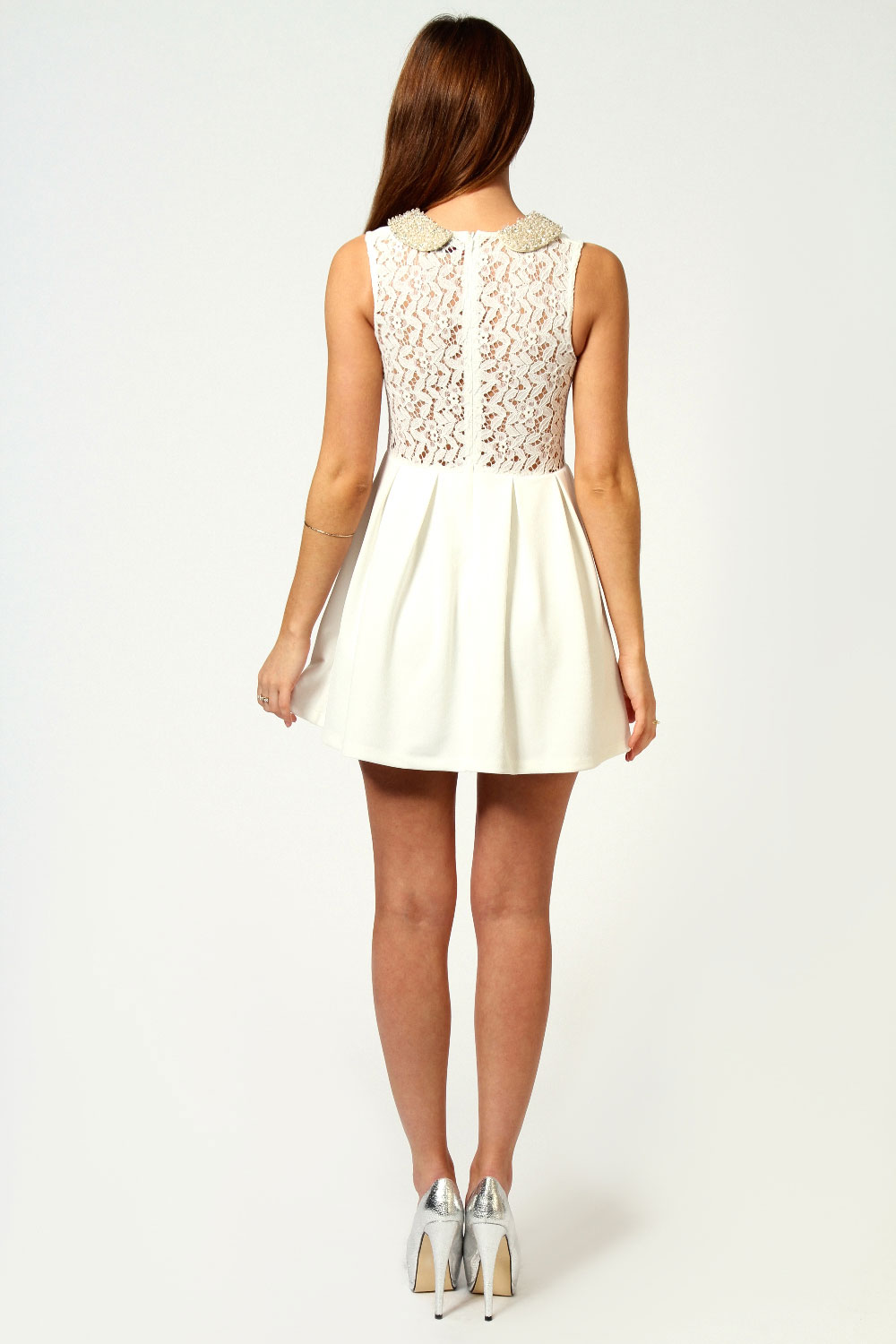 Lucy Heavy Embellished Lace Back Skater Dress