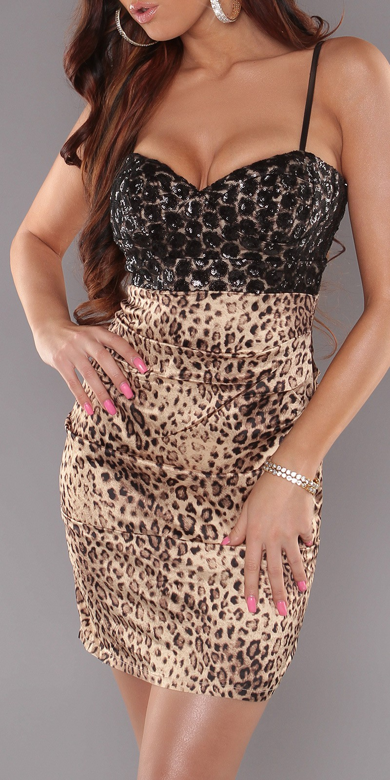 Leopard Sexy Cocktail Dress With Sequins