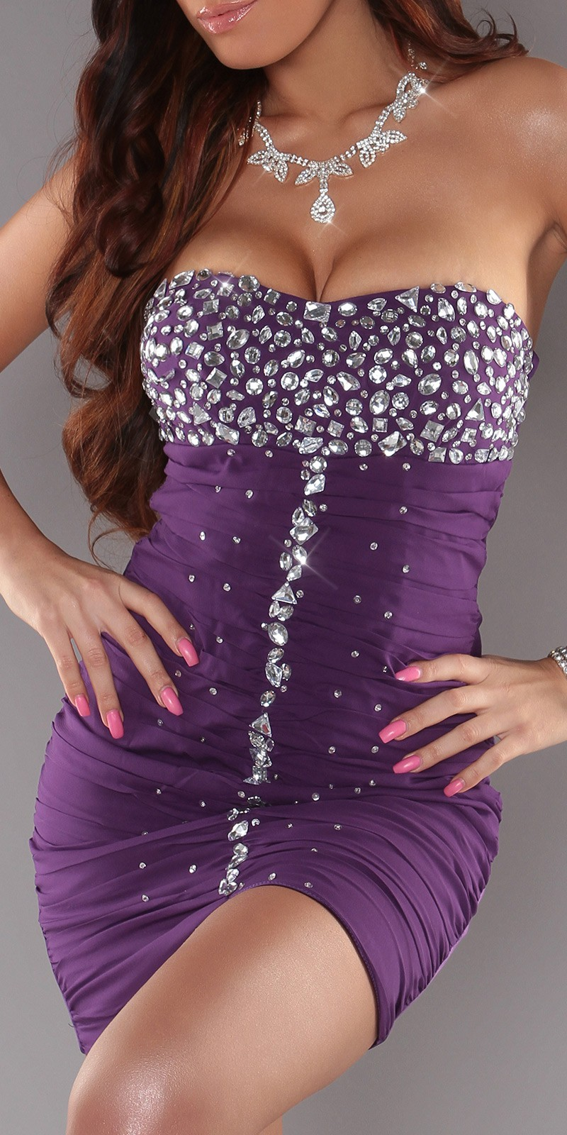 Purple Slinky Strapless Evening Dress With Rhinestones