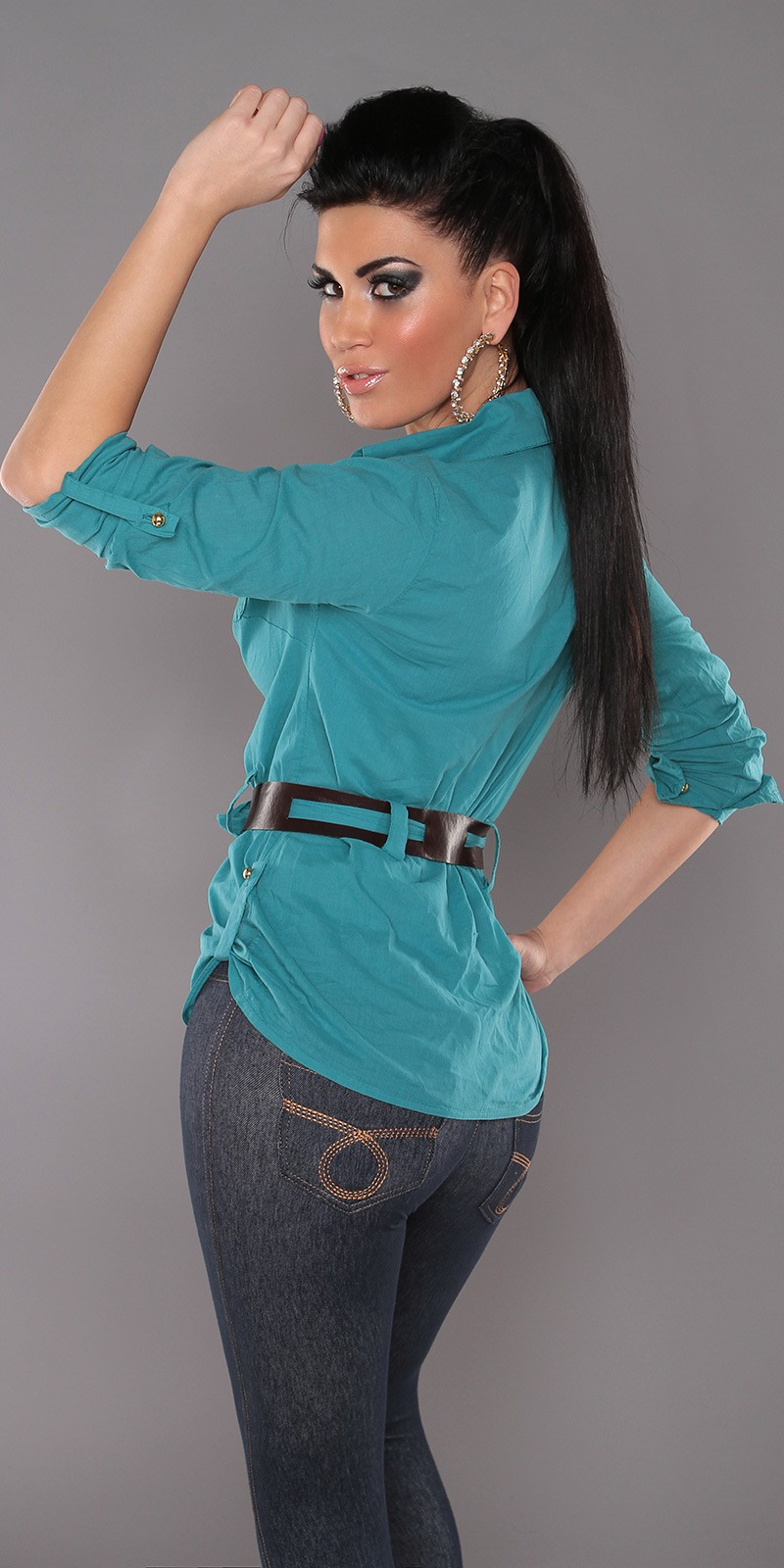 Petrol Blouse With Belt