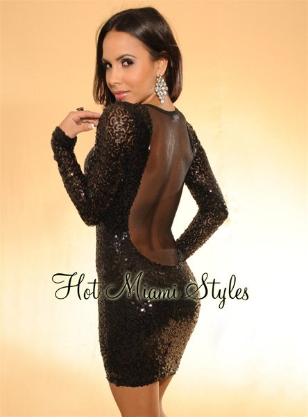 Black Sequined Mesh Long Sleeves Dress