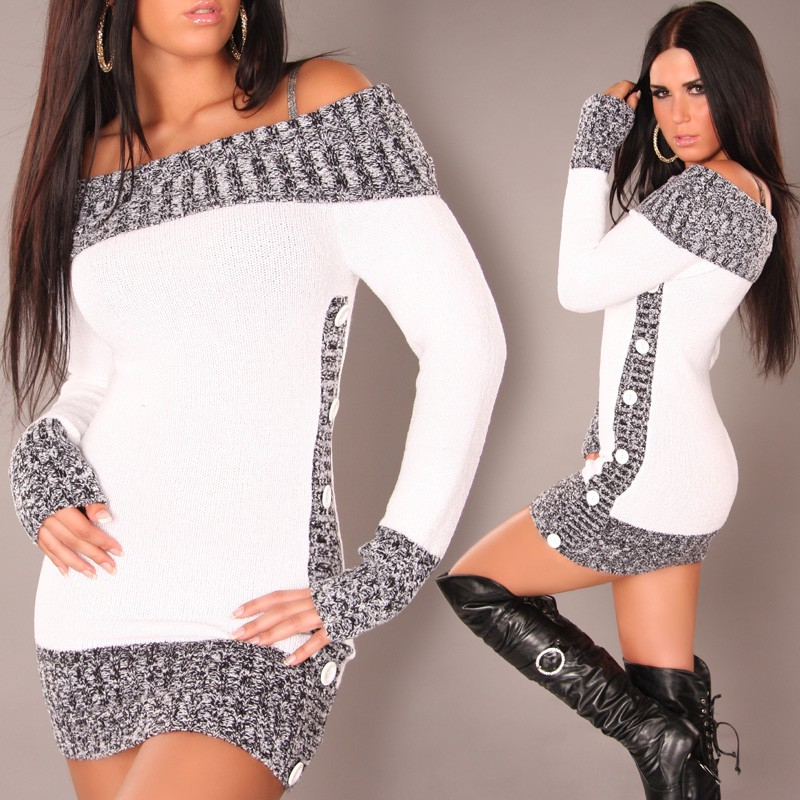 White Sexy Longpullover Minidress Carmen-Neck