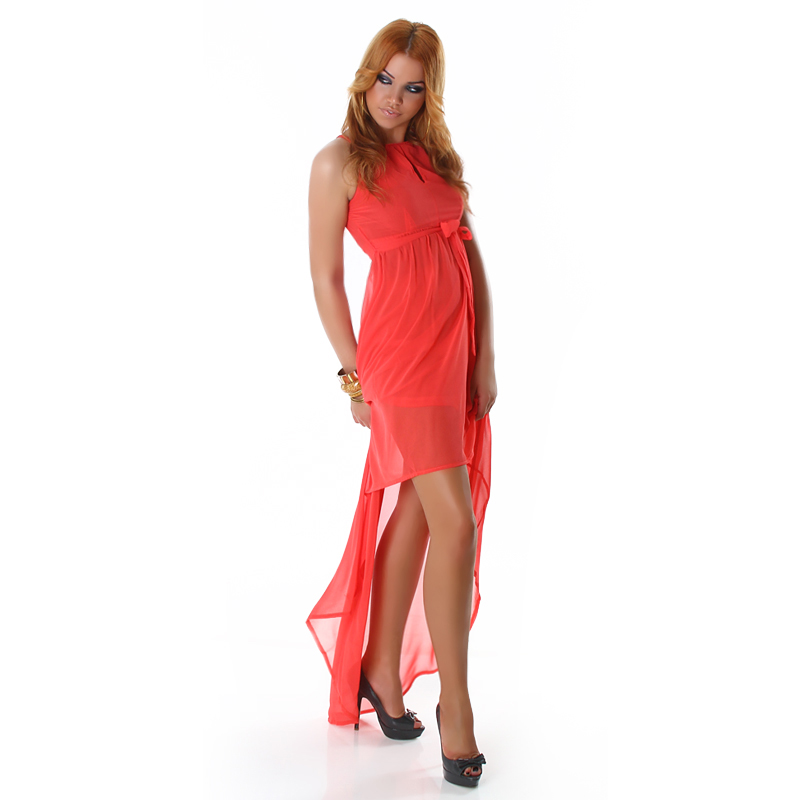 Coral Double Key-Hole High Low Dress