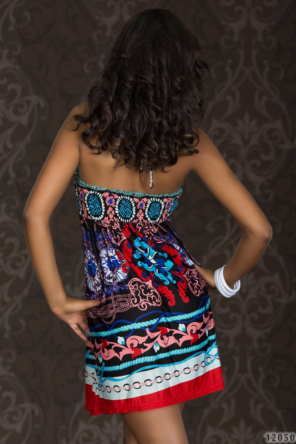 Multicolor Halter Summer Dress With Ornament