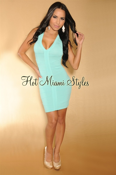 Mint Banded Fringe Back Bandage Dress