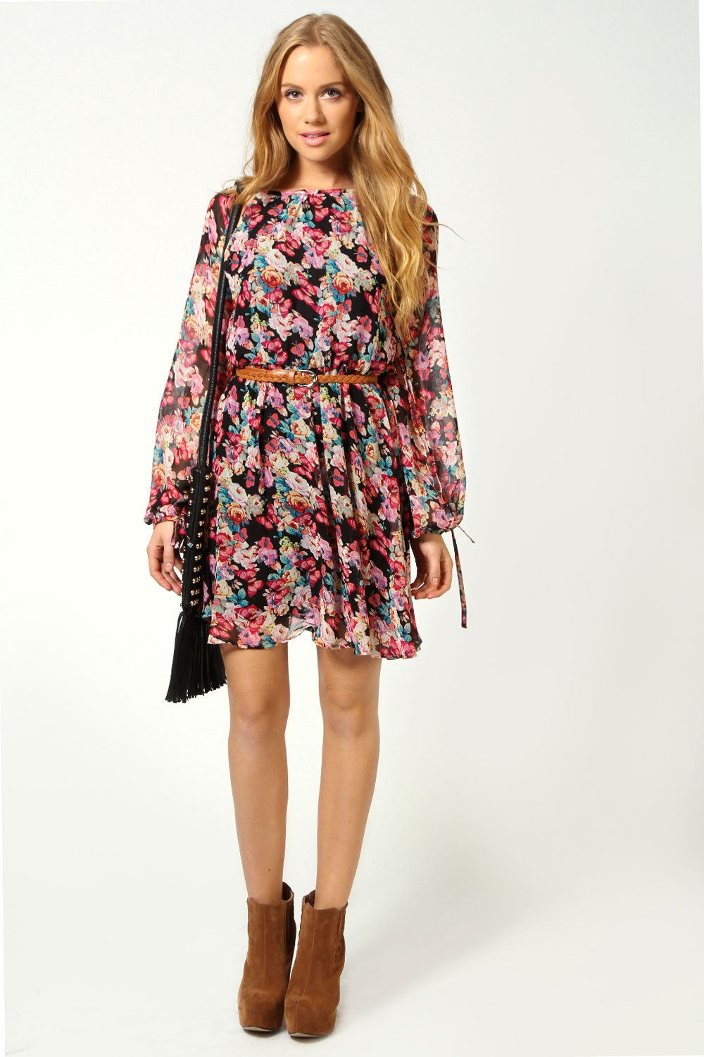 Fiona Floral Butterfly Print Open Shoulder Long Sleeve Dress