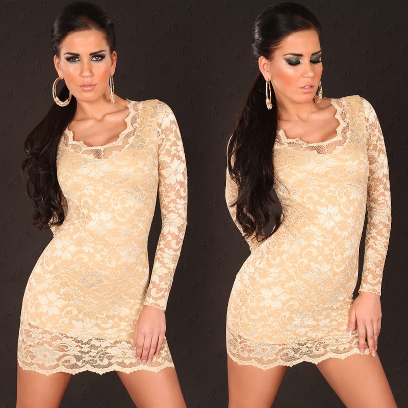 Sand-Gold Long Sleeves U-Neck Lace Dress