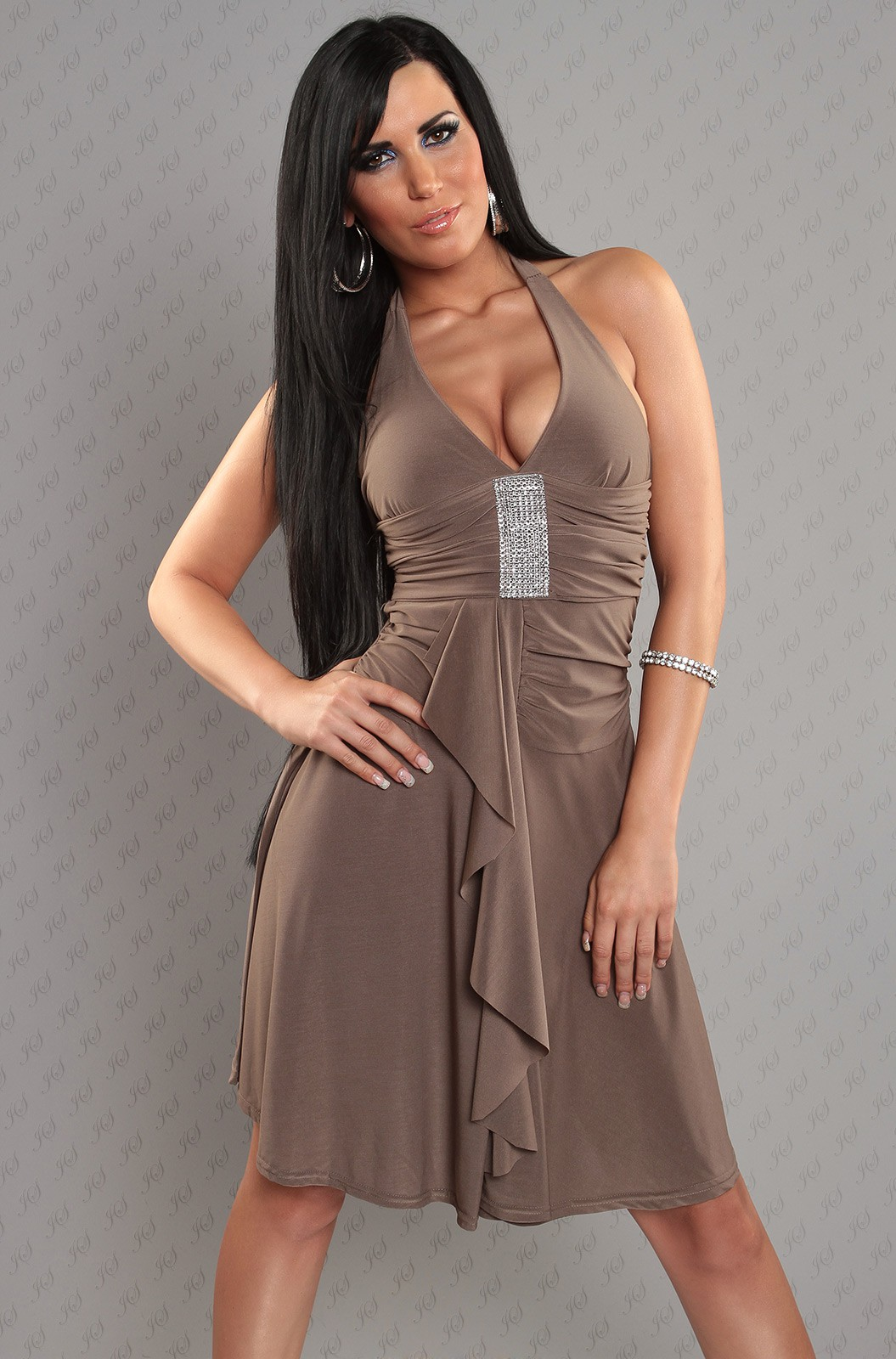 Beige Halter Rhinestone Accent Evening Dress
