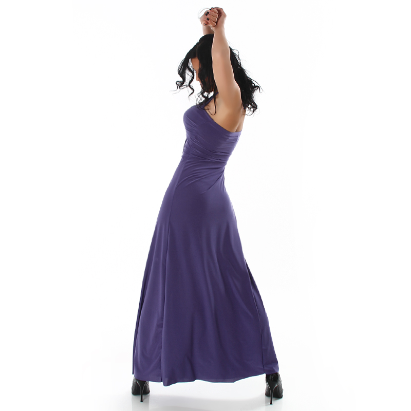 Purple Halter Long Dress