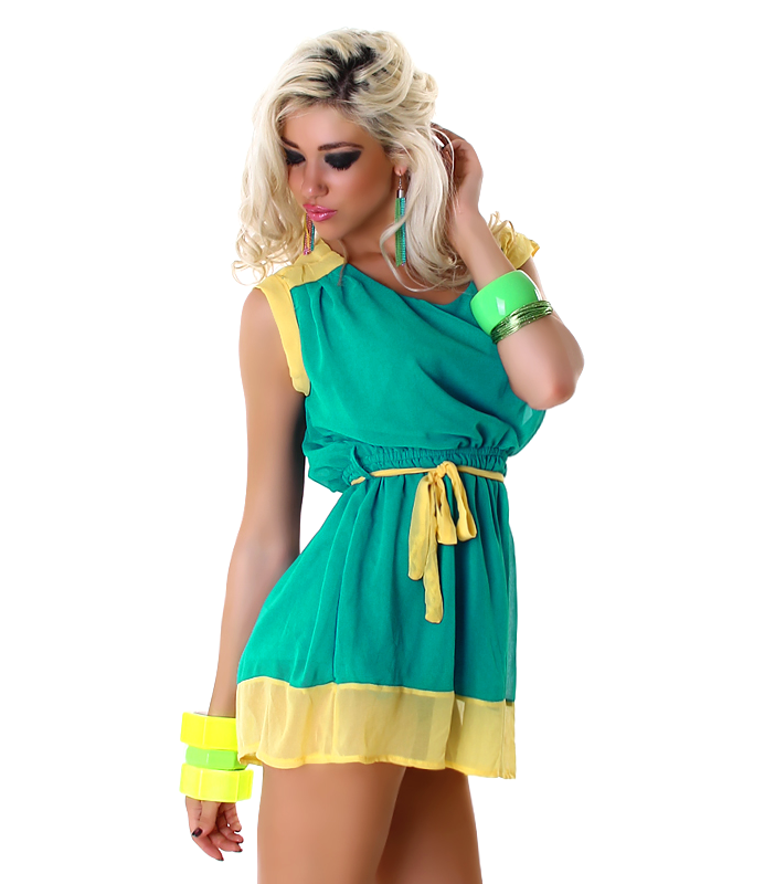 Yellow-Petrol Two-Color Sleeveless Light Short Dress