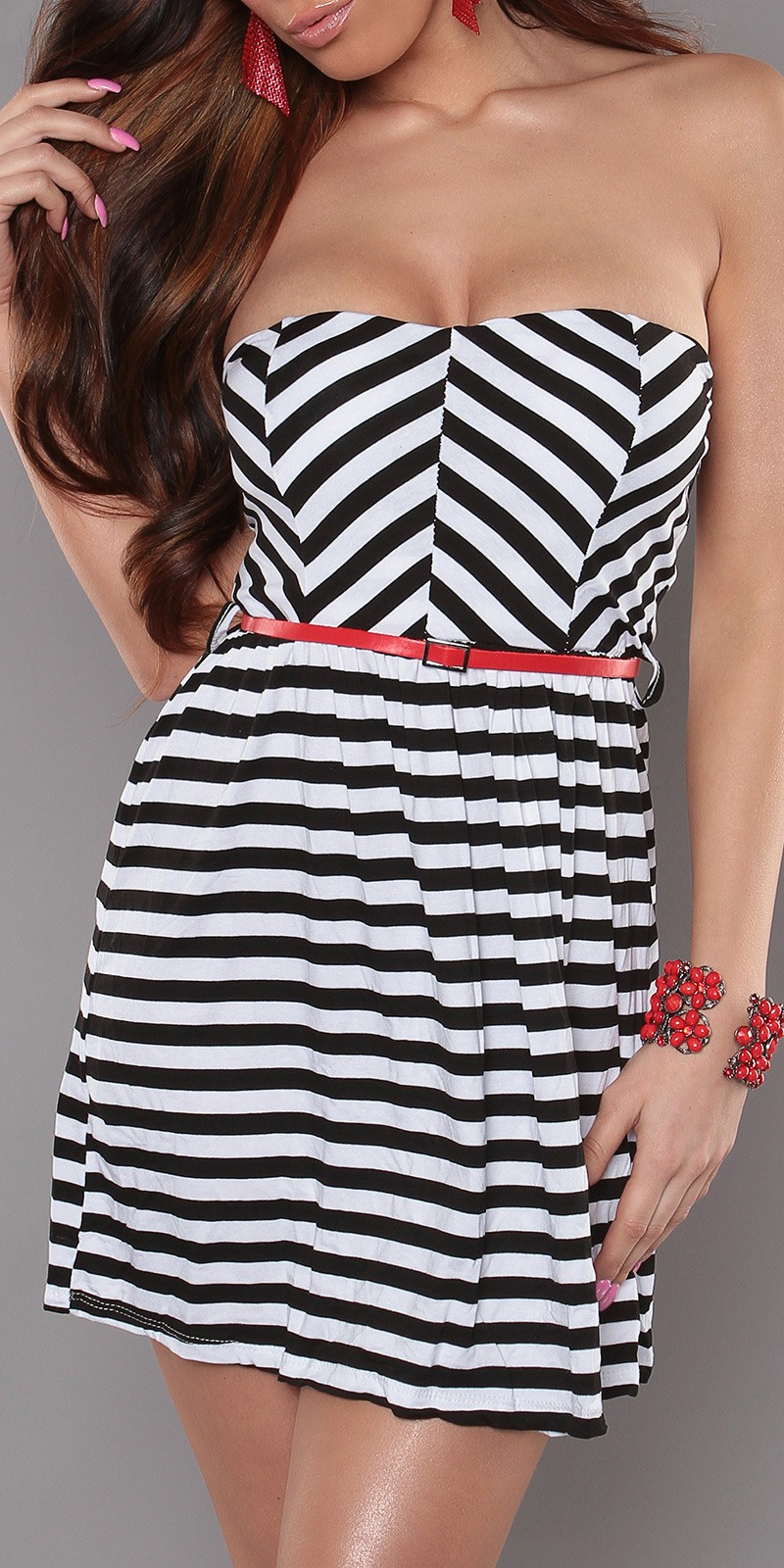 Black Strapless Striped Dress With Red Belt