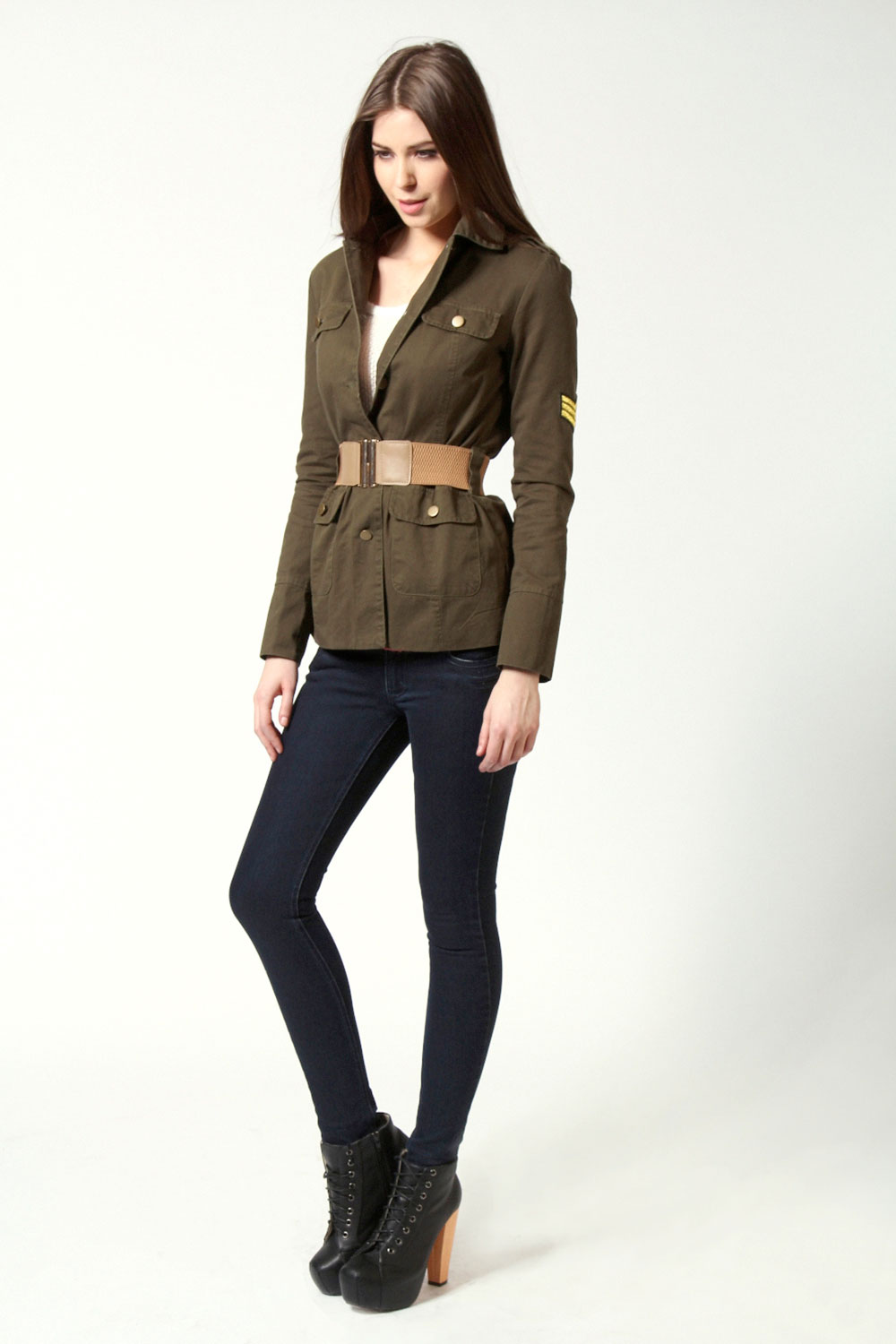 Khaki Halle Twill Military Belted Parka