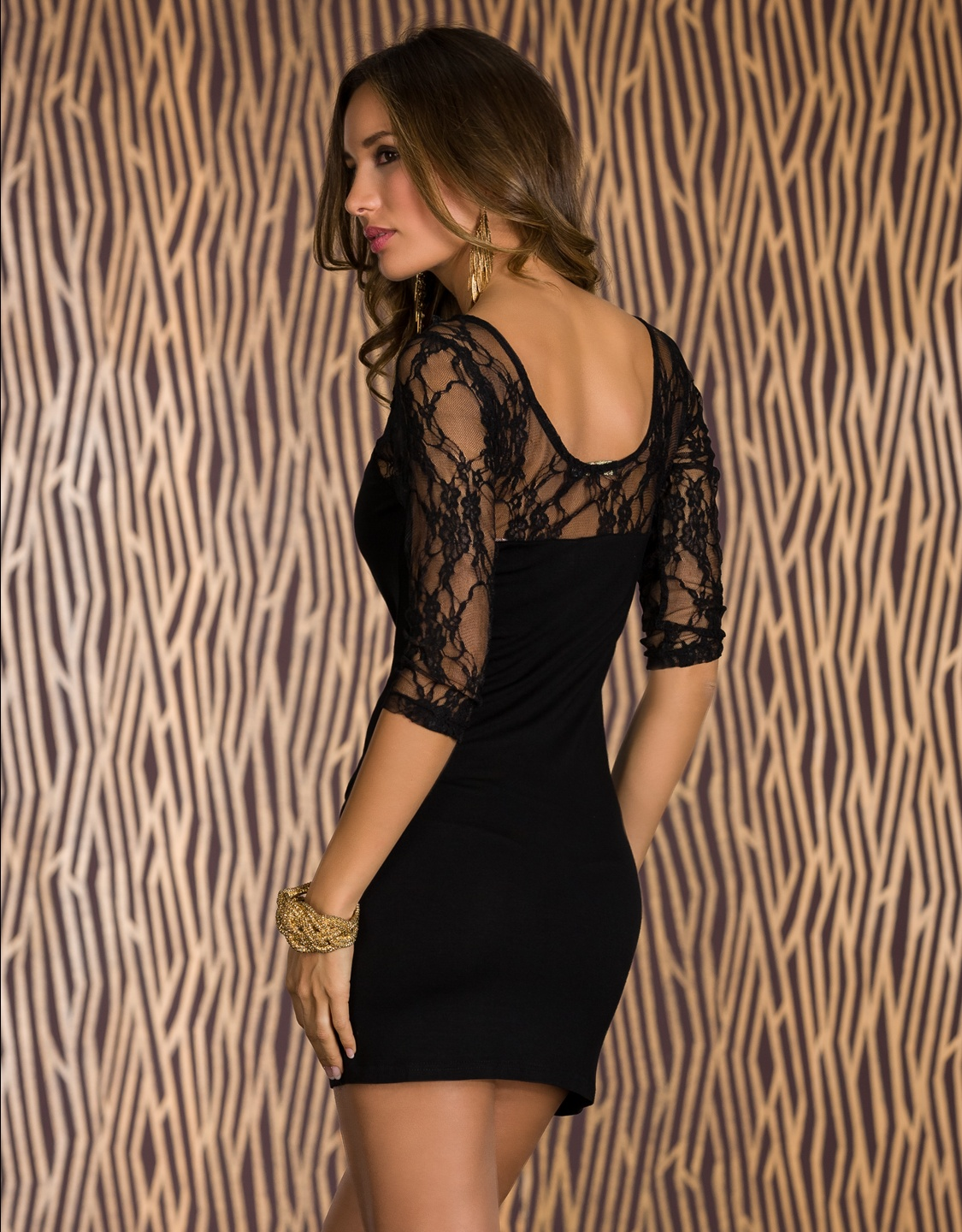 Black Lace 3/4 Sleeves Short Dress