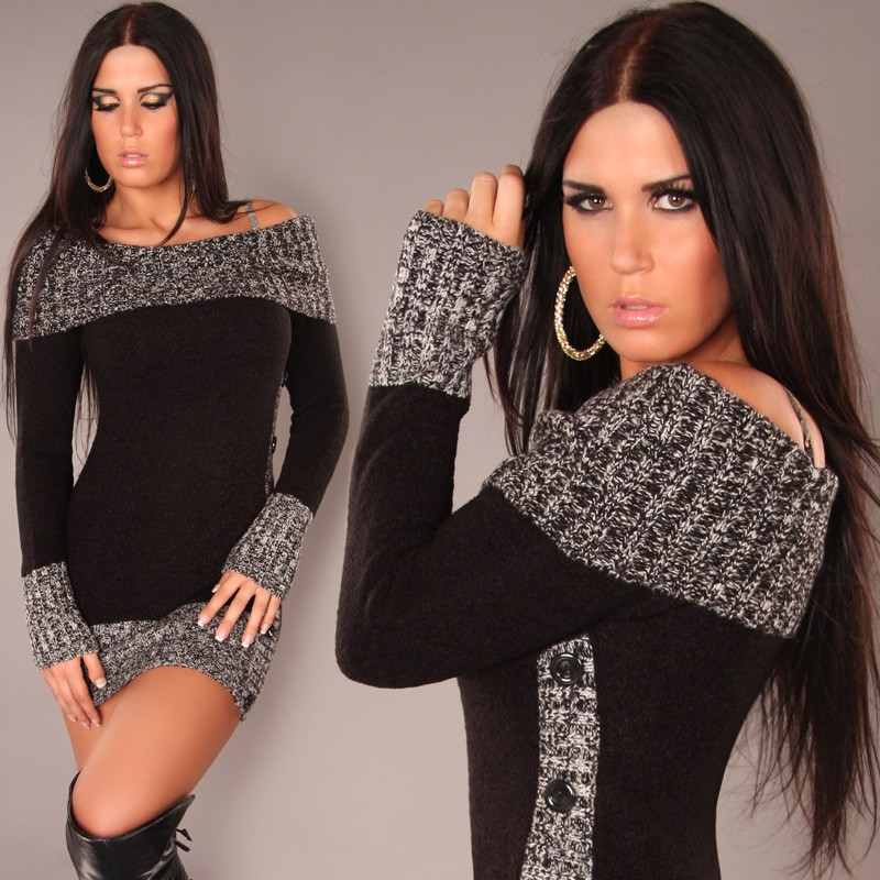 Black Sexy Longpullover Minidress Carmen-Neck