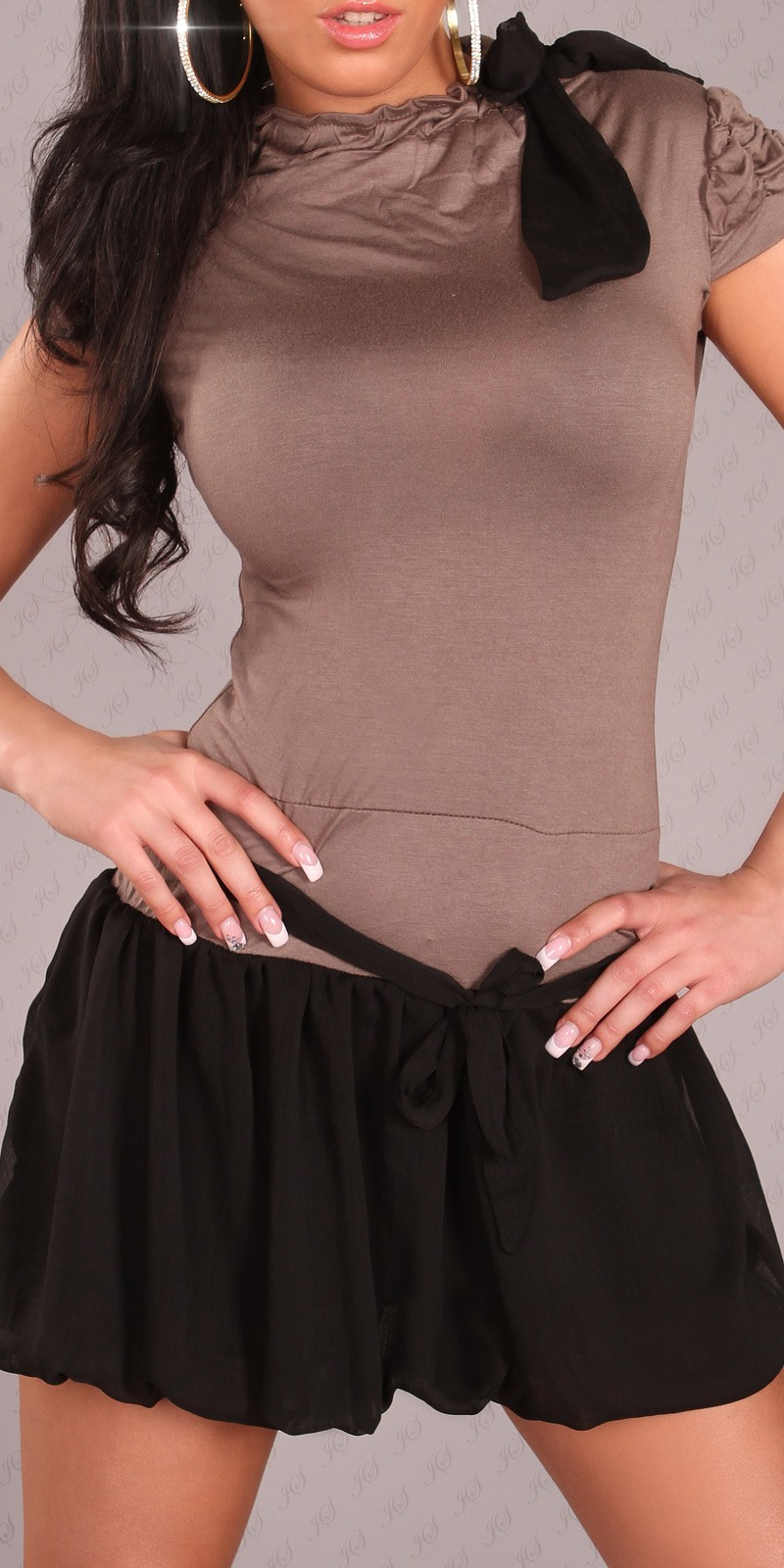 Brown Short Sleeves Bubble Skirt Belted Dress