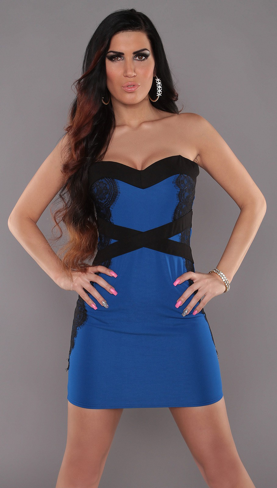 Blue Sexy Bandeau-Minidress With Lace