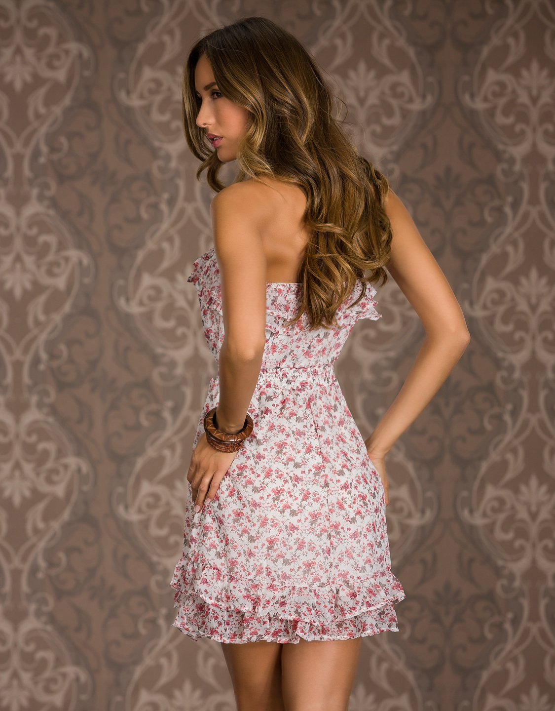 Pink Strapless Ruffled Summer Dress With Flower Print