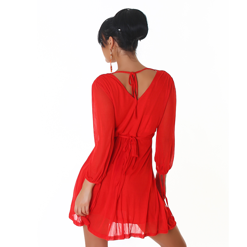 Red V-neck High-Waisted Dress