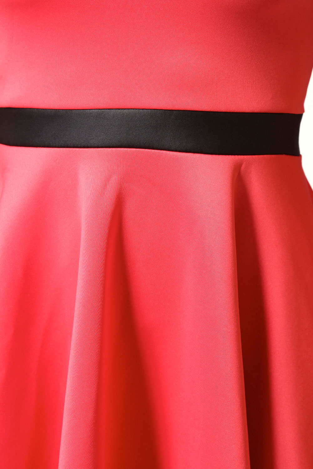 Coral Charlie Racer Neck Cutout Back Skater Dress