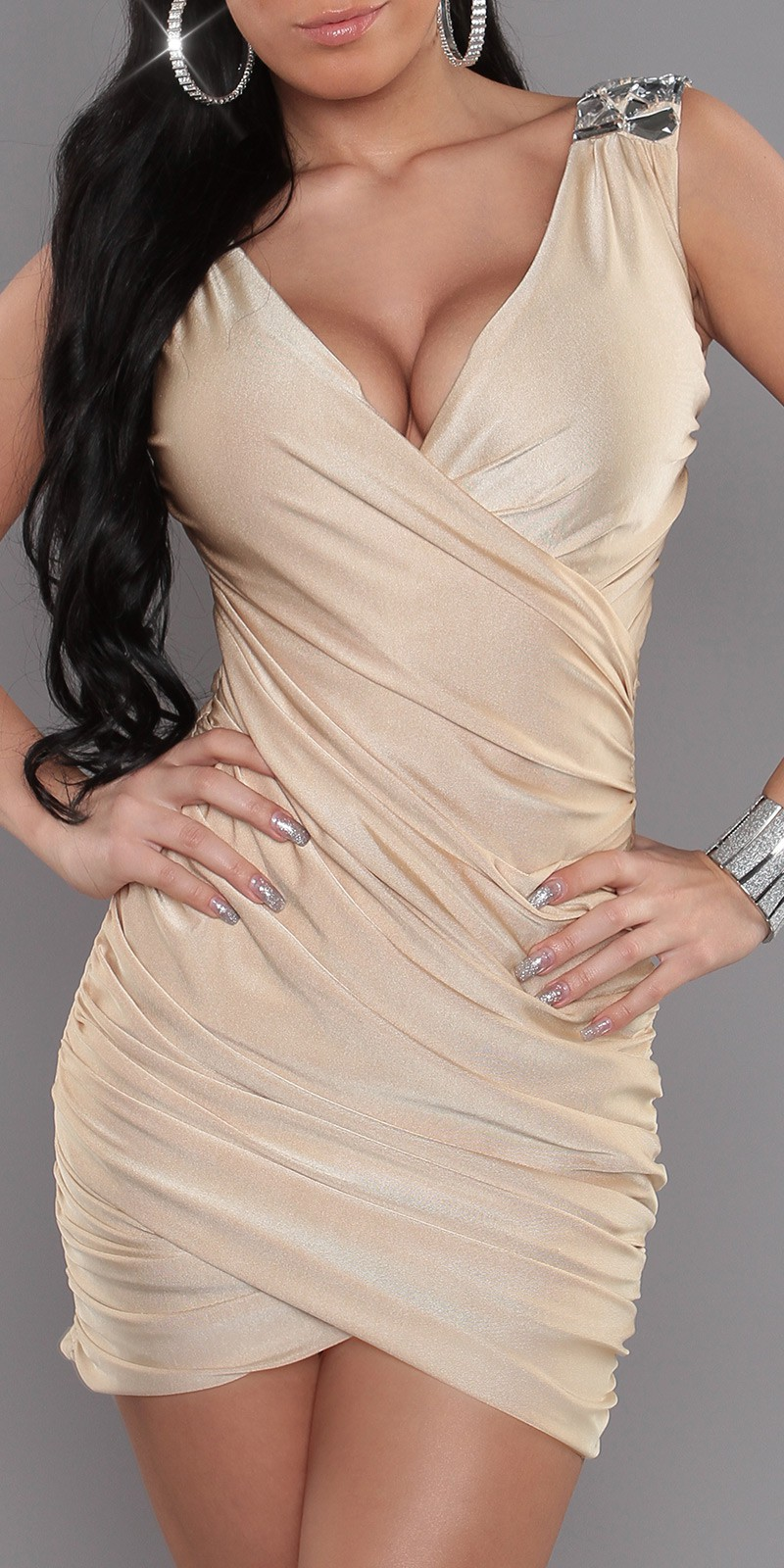 Beige Wrapped V-Neck Evening Dress With Brilliant Stones