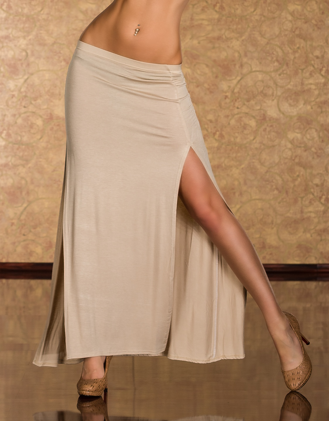 Cream Long Skirt With Vertical Cuts