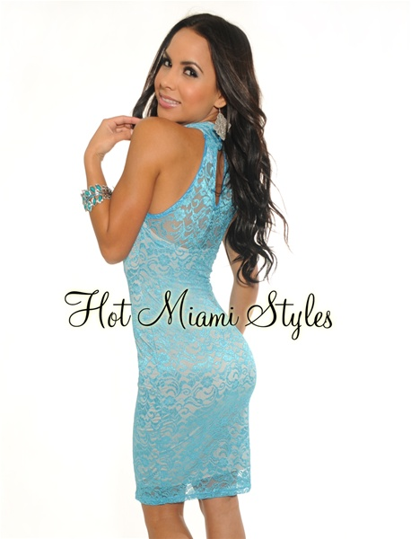 Aqua Lace Sleeveless Mock Neck Dress