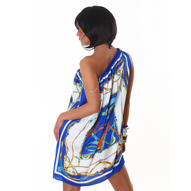 Blue Short Asymmetrical Summer Dress