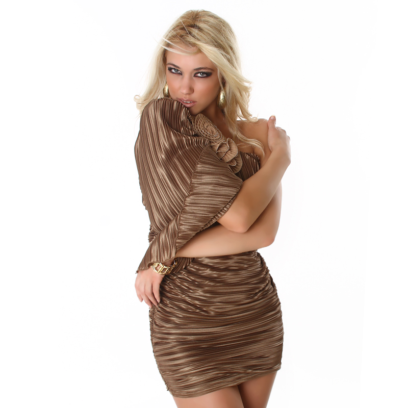 Brown Asymmetrical One Shoulder Pleated Dress