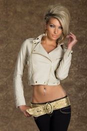 Cream Faux Leather Biker Jacket With Zipper