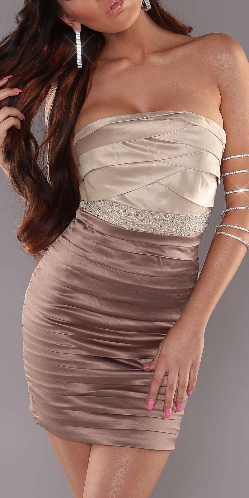 Cappuccino-Beige Sexy Pleated Dress With Sequins