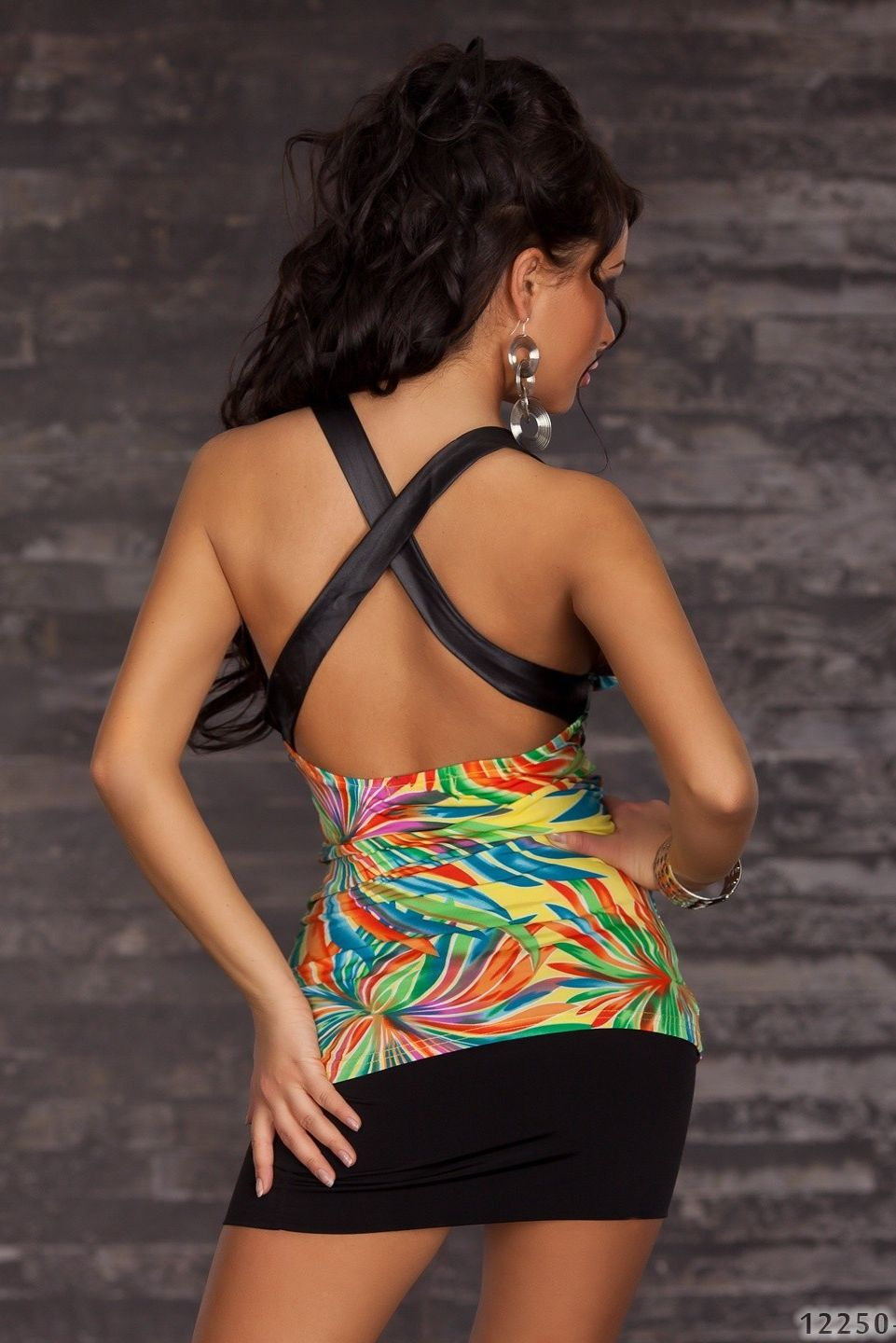 Multicolor Halter V-neck Top