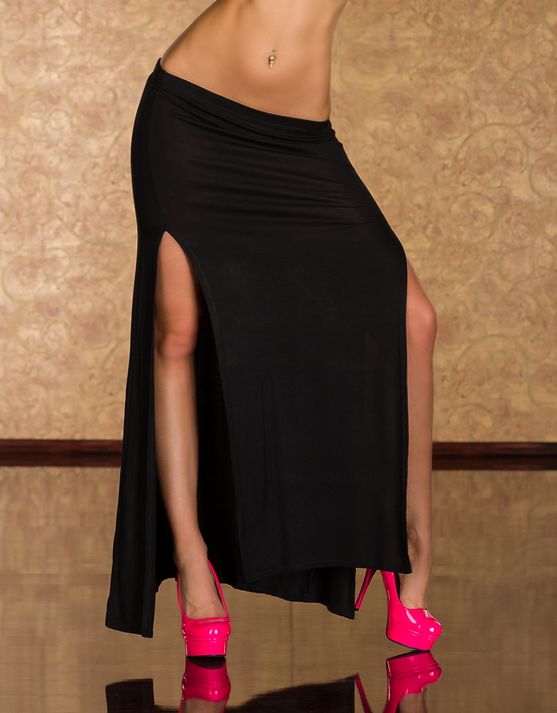 Black Long Skirt With Vertical Cuts