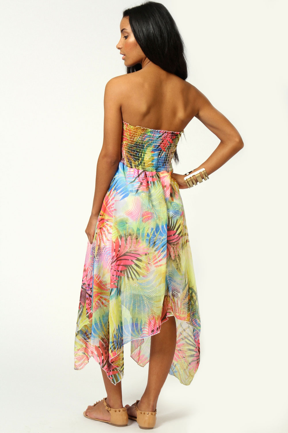 Gina Neon Tropical Print Chiffon Dress