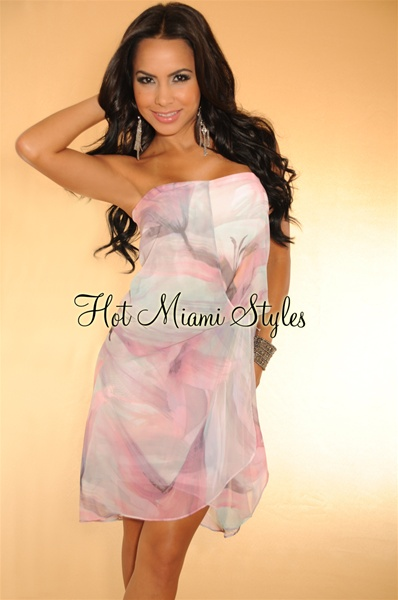 Rose Multi-Color Water Print Strapless Dress