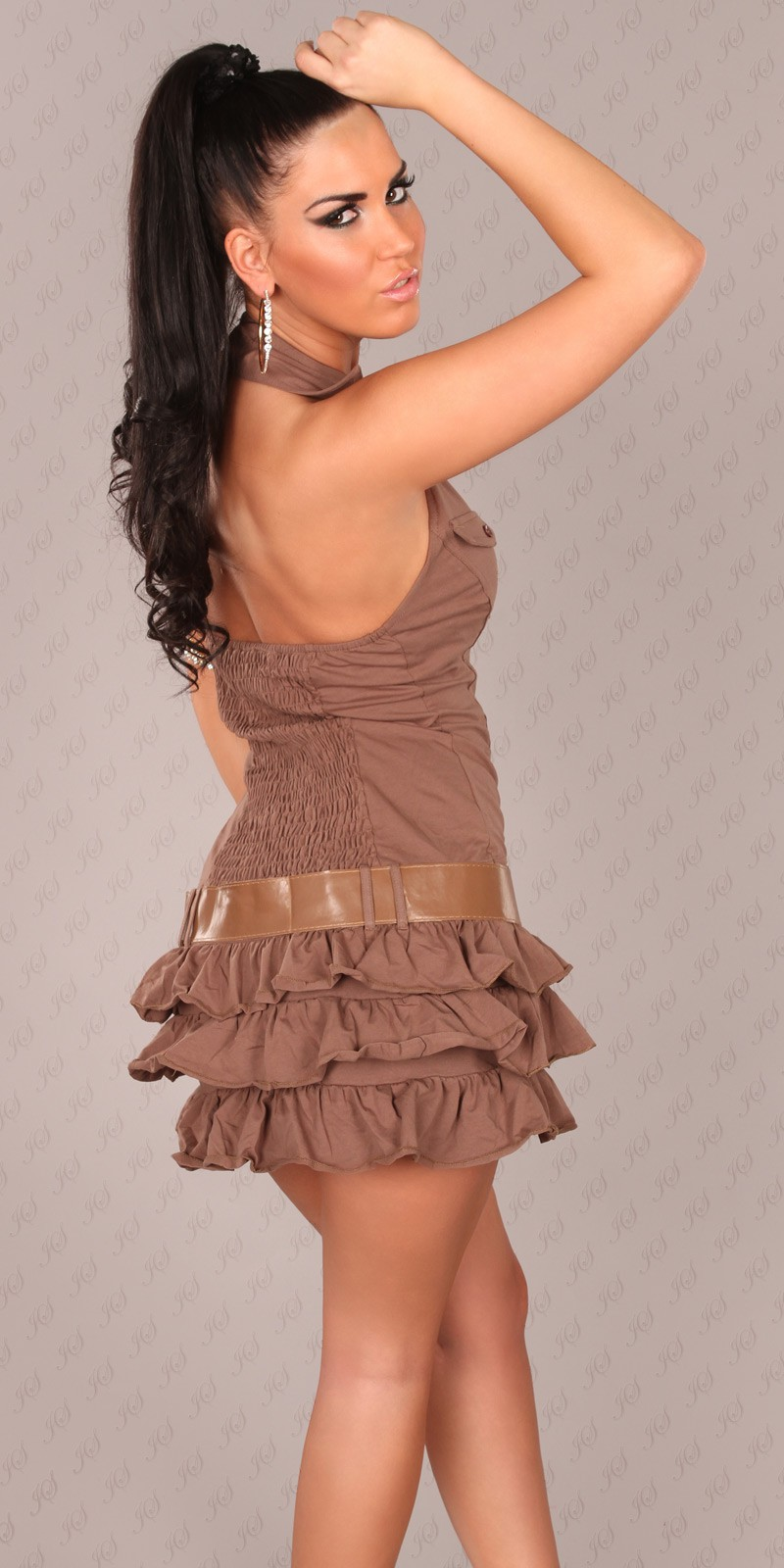 Brown Ruffled Mini-Dress With Belt