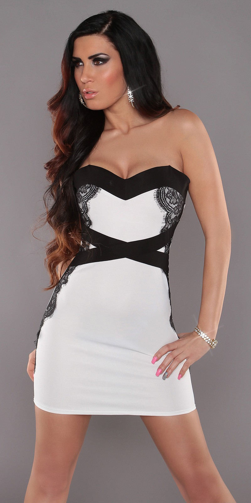 White Sexy Bandeau-Minidress With Lace