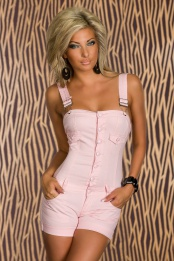 Pink Buttoned Short Jumpsuit With Wide Straps