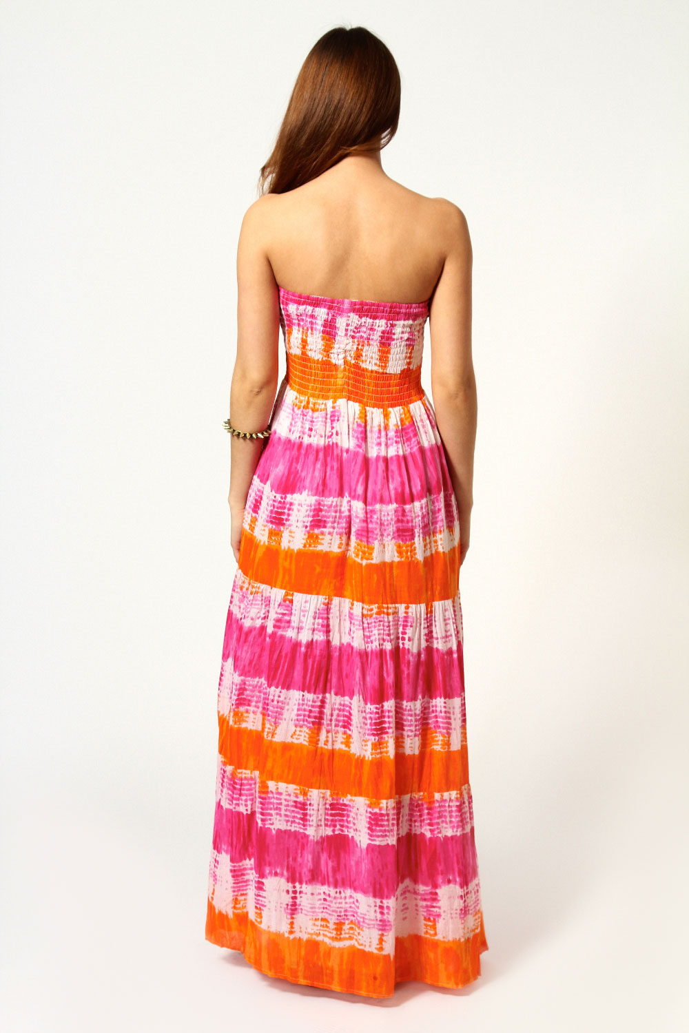 Leanne Shirred Tiered Cotton Maxi Dress