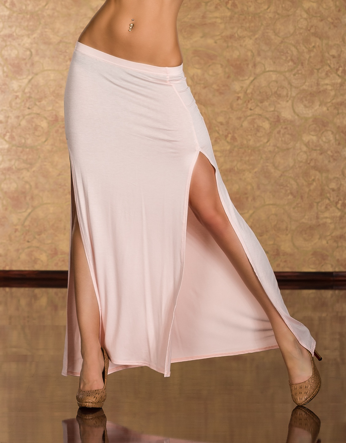 Rose Long Skirt With Vertical Cuts