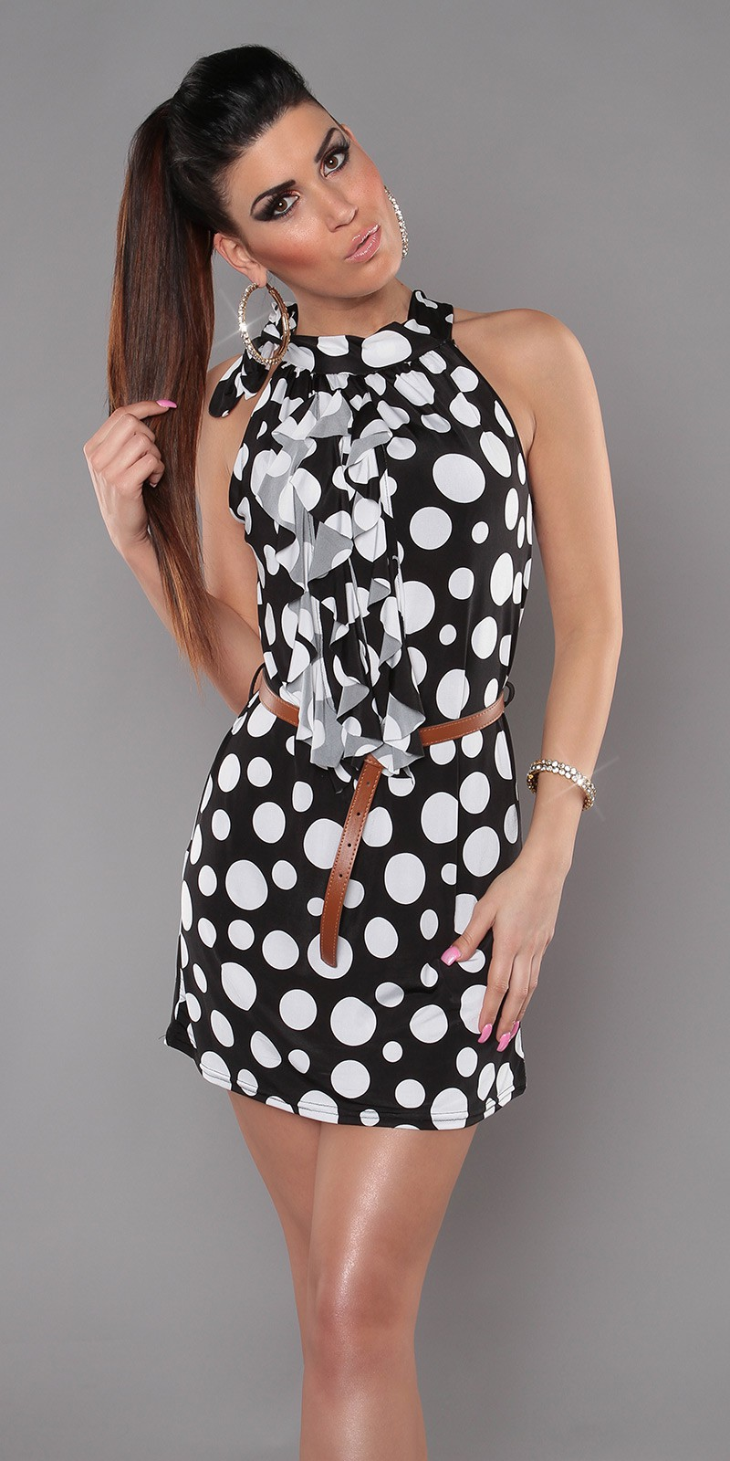 Black Sleeveless Ruffled Polka Dot Belted Dress