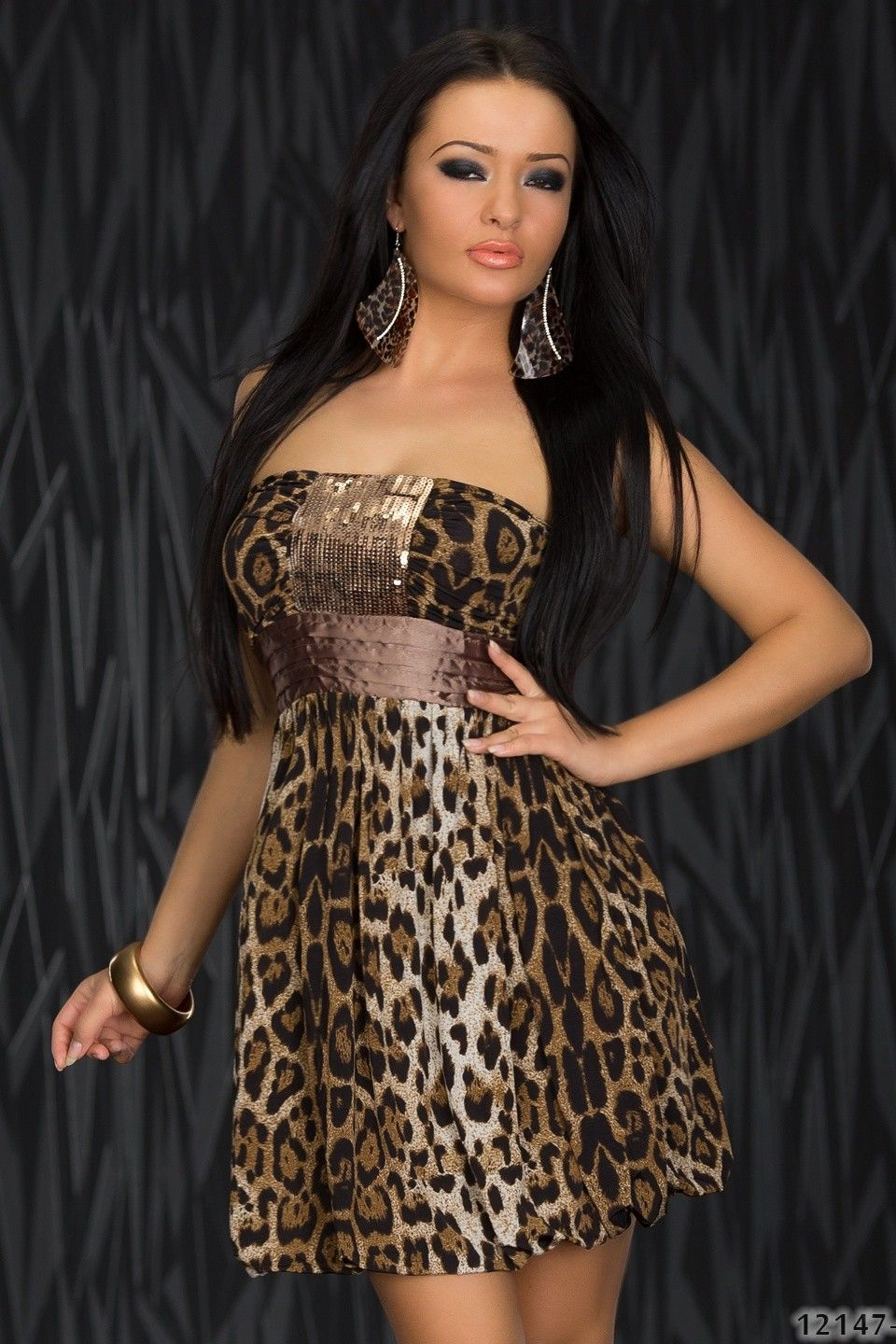 Leopard Sequined Strapless Club Dress