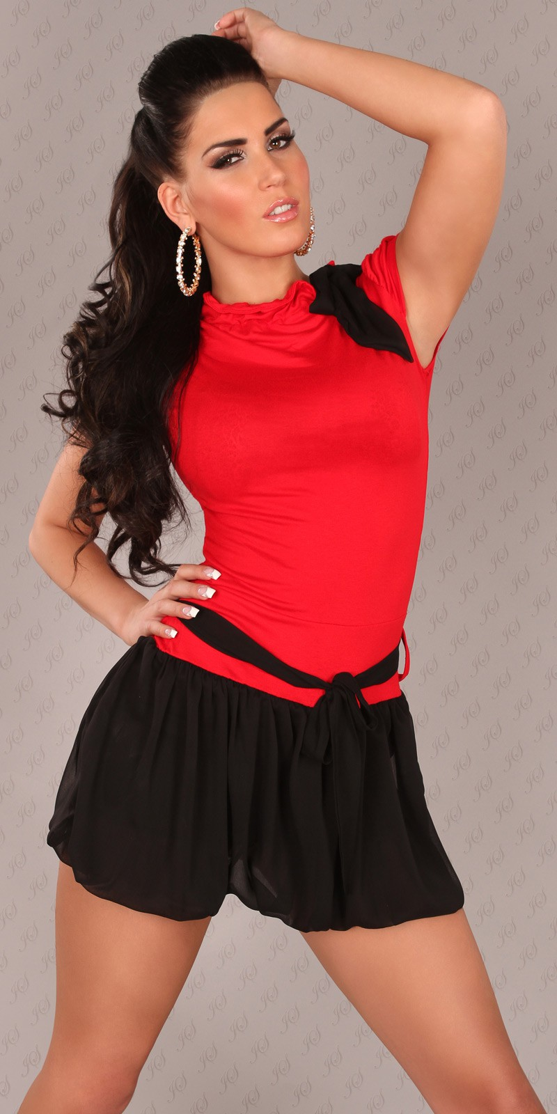 Red Short Sleeves Bubble Skirt Belted Dress