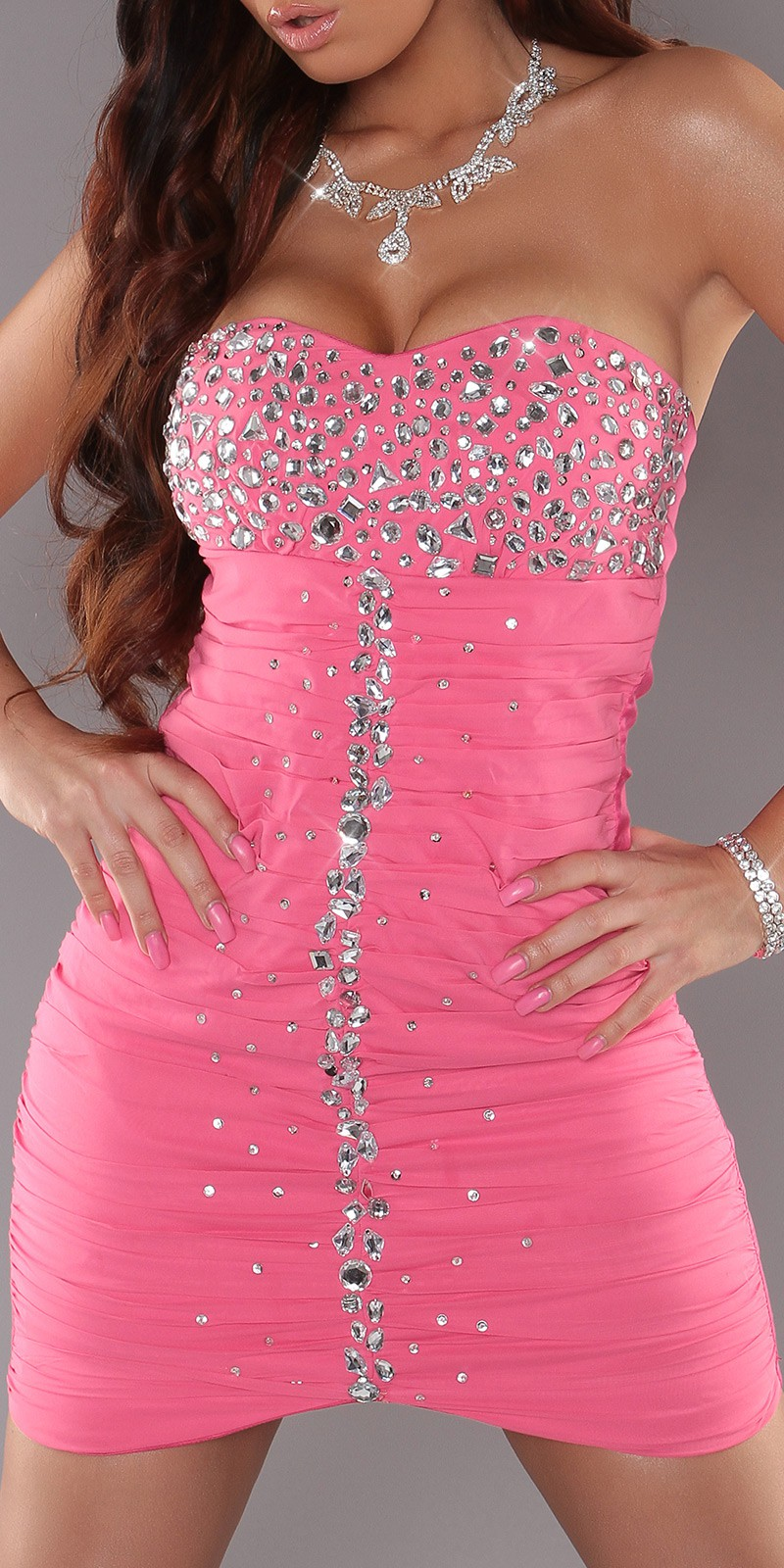 Pink Slinky Strapless Evening Dress With Rhinestones