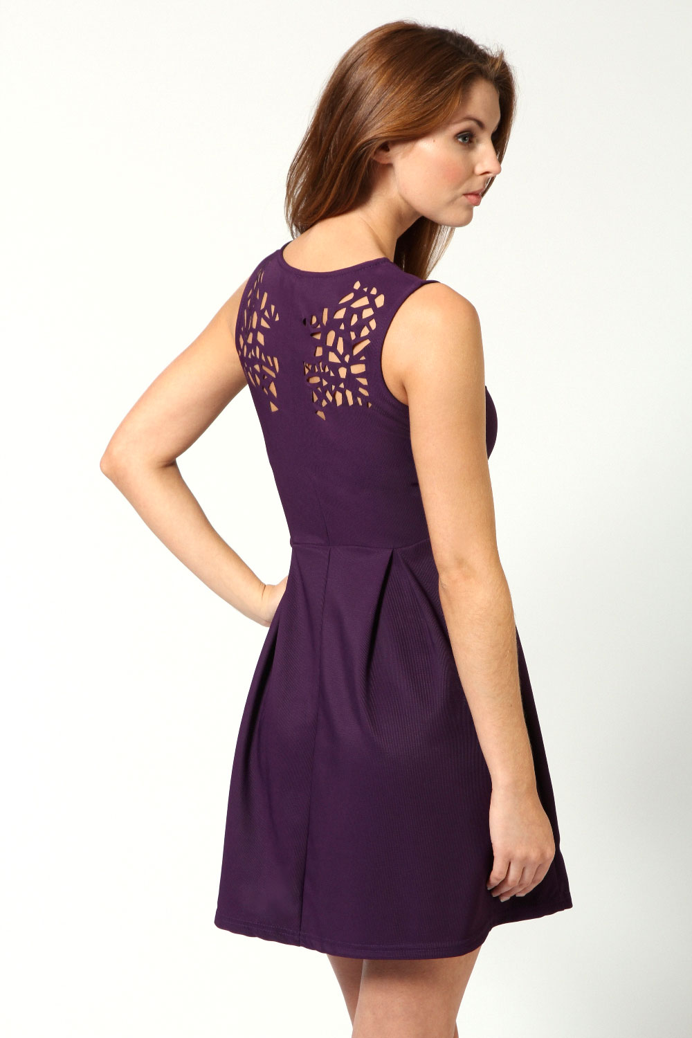 Purple Esther Laser Cut Detail Fit And Flare Dress