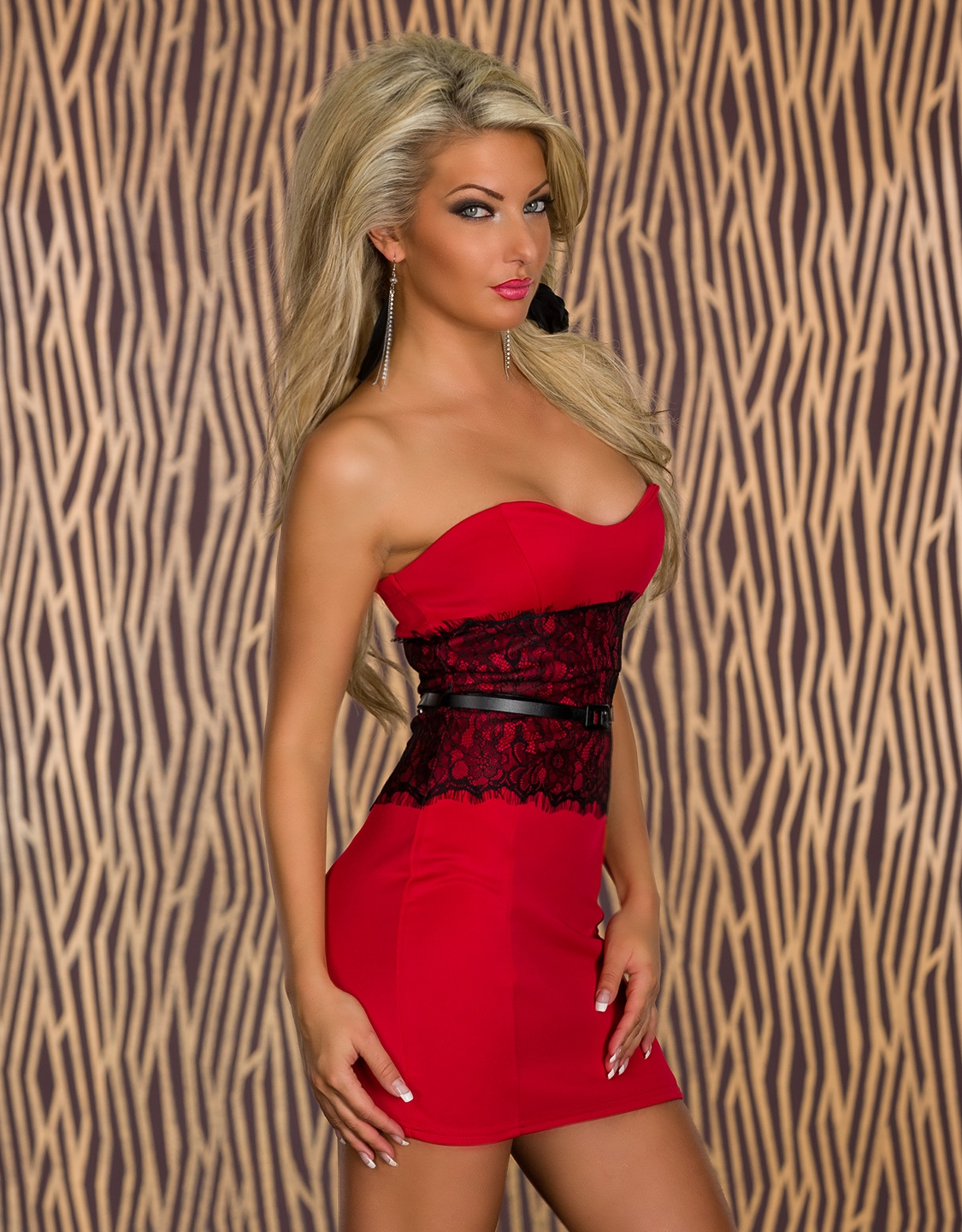 Red Strapless Belted Bodycon Dress With Lace Waistline