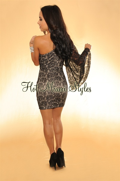 Black Lace Studded One Shoulder Dress