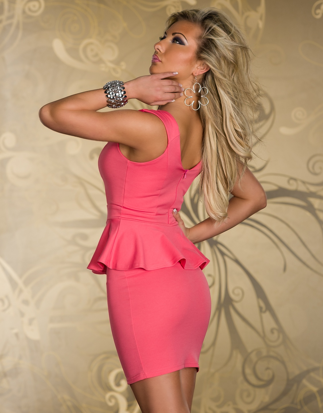 Coral Breast Cut-Out Bodycon Peplum Dress