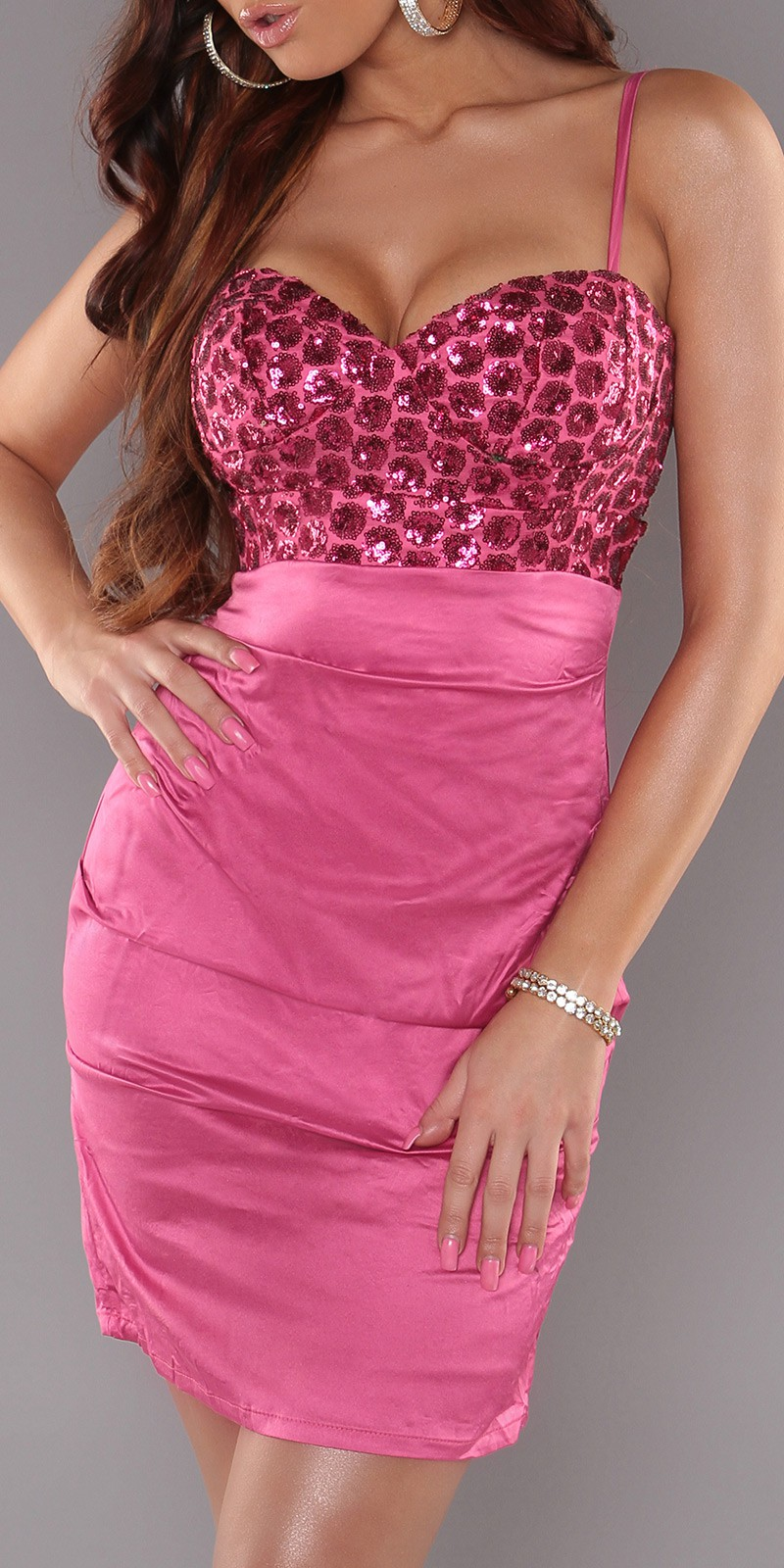 Fuchsia Sexy Cocktail Dress With Sequins